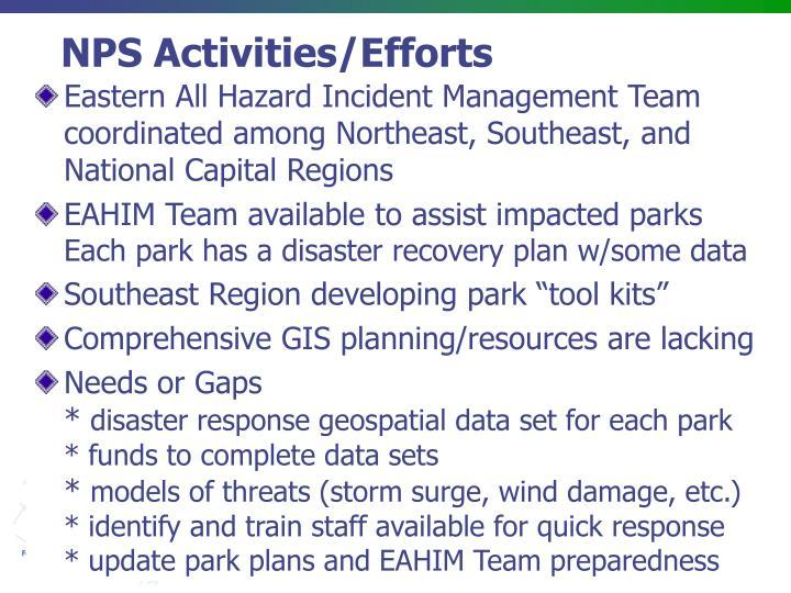 Nps activities efforts