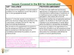 issues covered in the bill for amendment