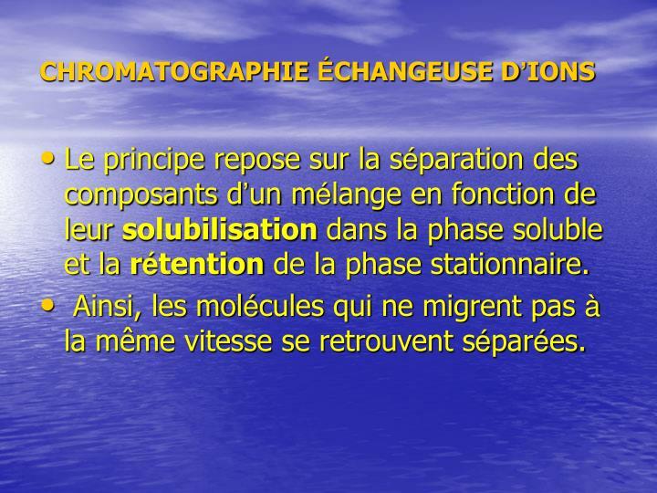 CHROMATOGRAPHIE