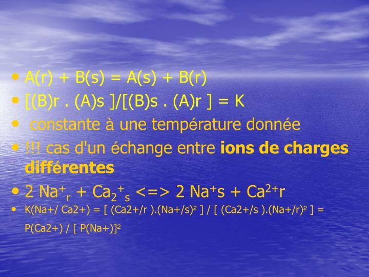 A(r) + B(s) = A(s) + B(r)