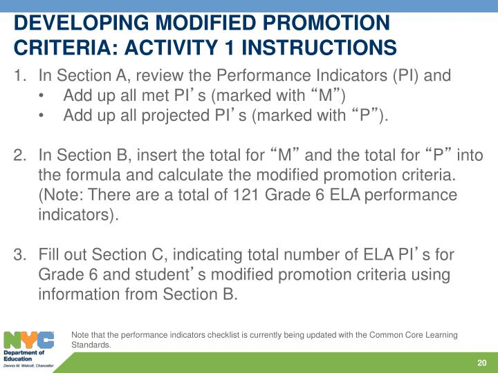 DEVELOPING MODIFIED PROMOTION CRITERIA: ACTIVITY 1 INSTRUCTIONS