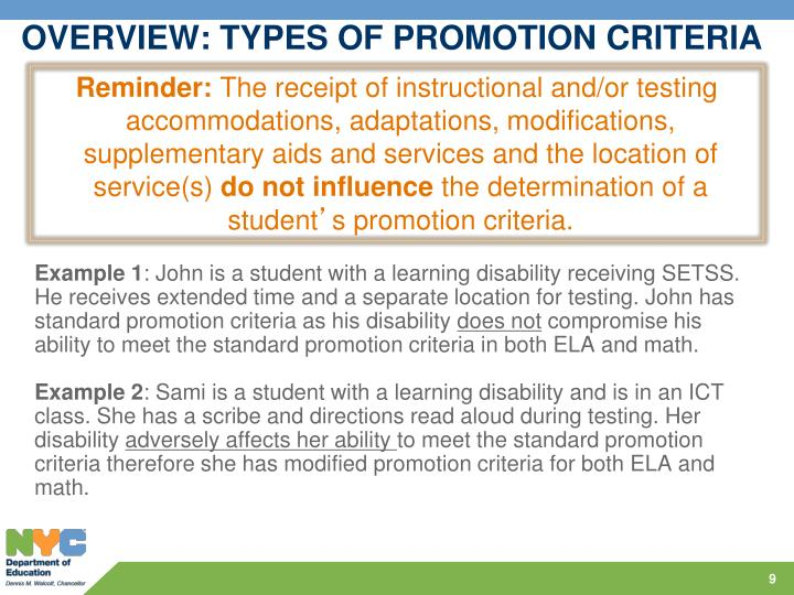 OVERVIEW: TYPES OF PROMOTION CRITERIA