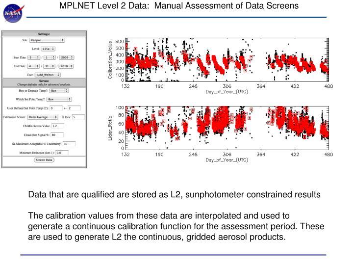 MPLNET Level 2 Data:  Manual Assessment of Data Screens