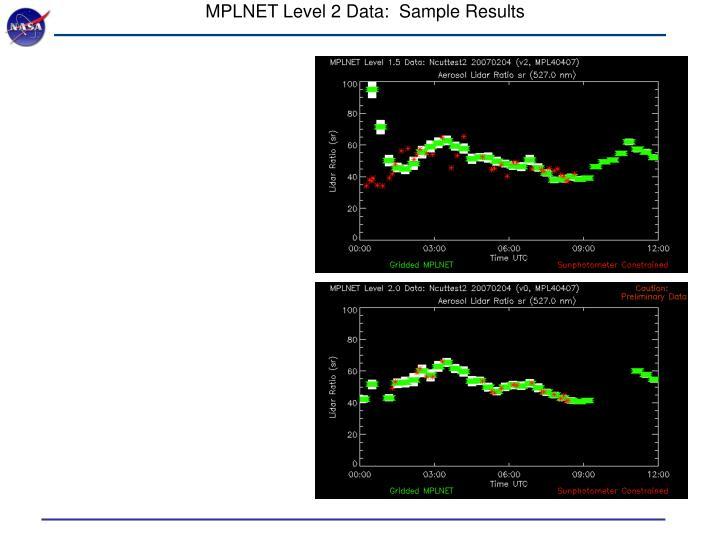 MPLNET Level 2 Data:  Sample Results