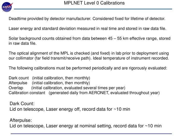 MPLNET Level 0 Calibrations