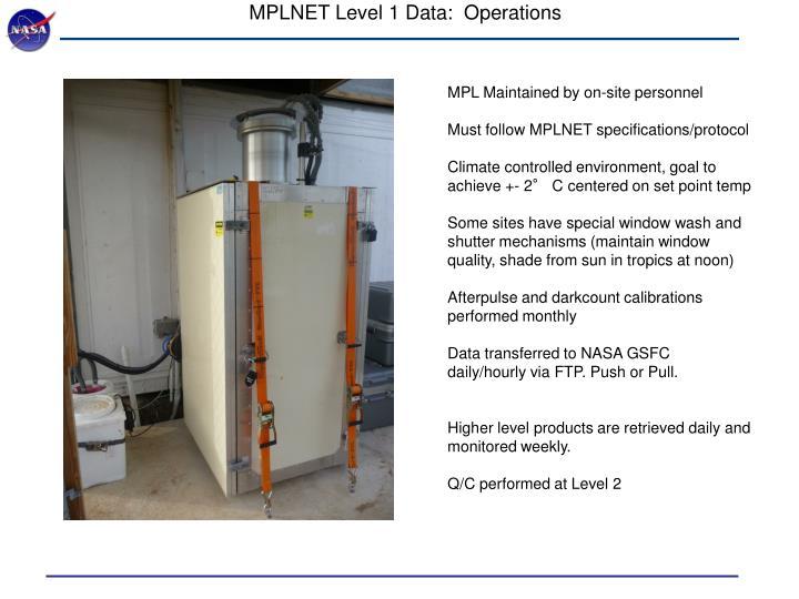 MPLNET Level 1 Data:  Operations