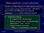 data analysis event selection