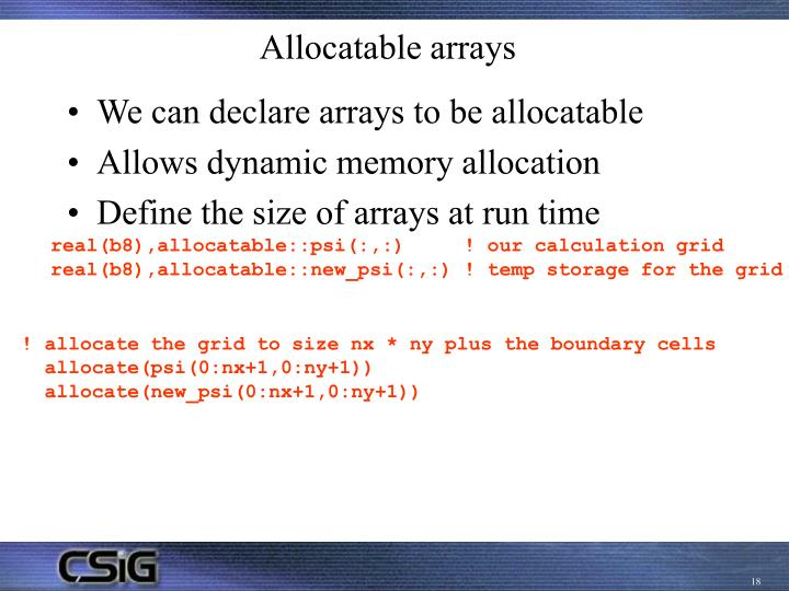 Allocatable arrays