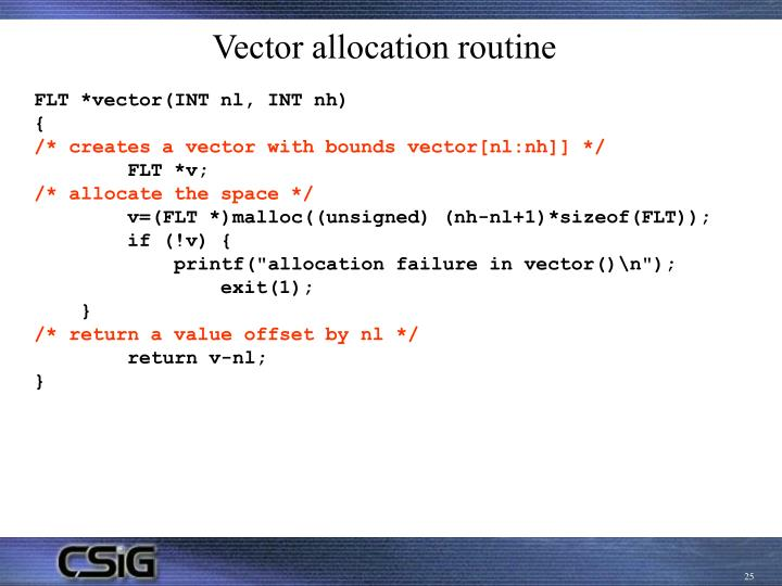 Vector allocation routine