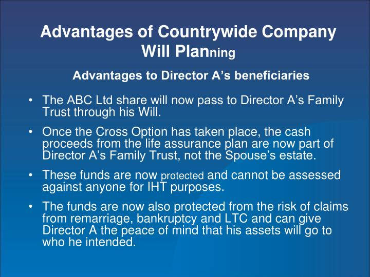 Advantages of Countrywide Company Will Plan
