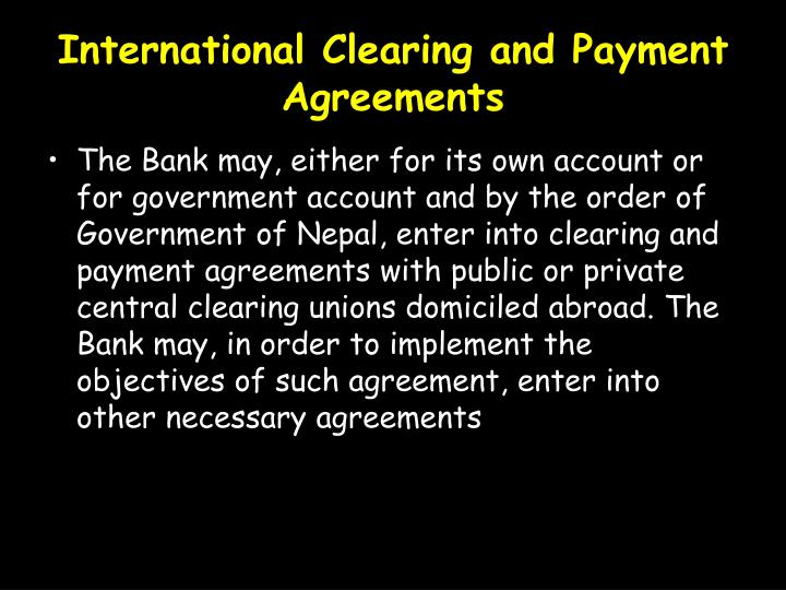 International Clearing and Payment Agreements