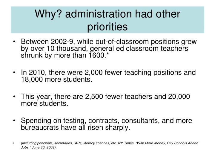 Why? administration had other priorities