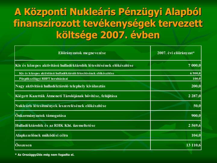 A Központi Nukleáris Pénzügyi Alapból finanszírozott tevékenységek tervezett költsége 2007. évben