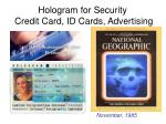 hologram for security credit card id cards advertising