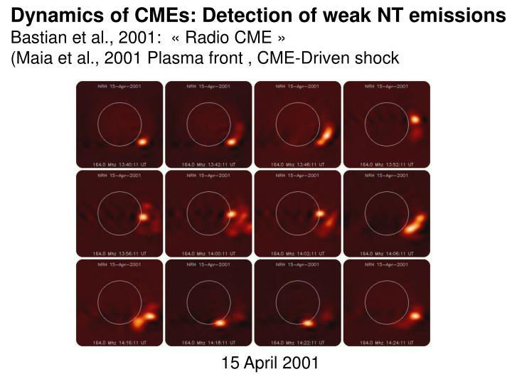Dynamics of CMEs: Detection of weak NT emissions
