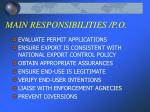 main responsibilities p o