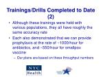 trainings drills completed to date 2