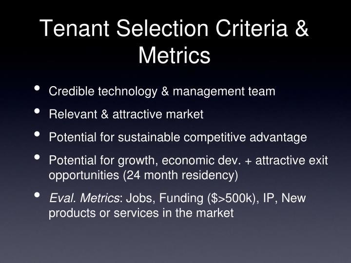 Tenant Selection Criteria & Metrics