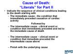 cause of death literals for part ii1
