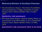 historical review of accident forecast