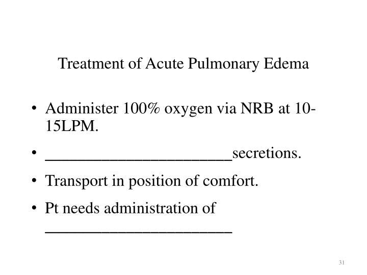 Treatment of Acute Pulmonary Edema