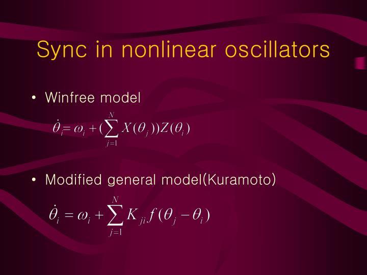 Sync in nonlinear oscillators