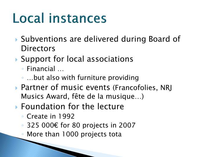 Local instances