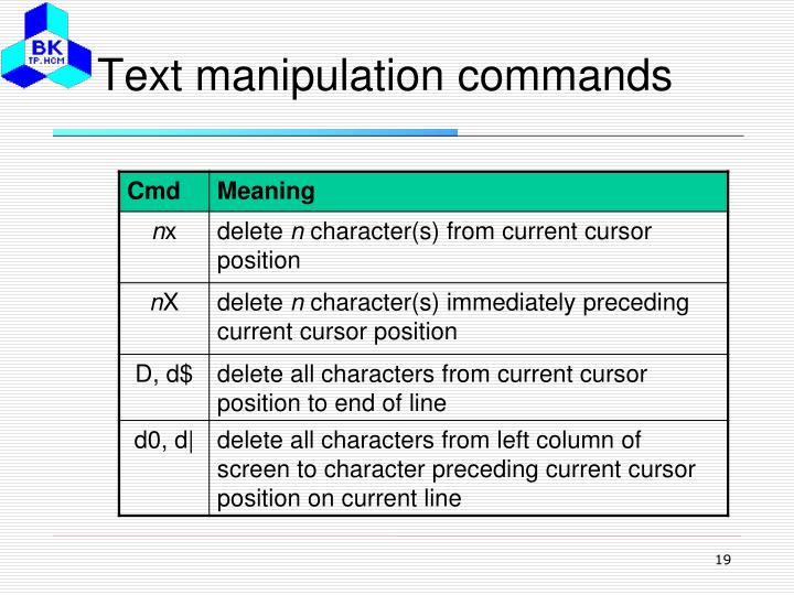 Text manipulation commands