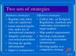 two sets of strategies