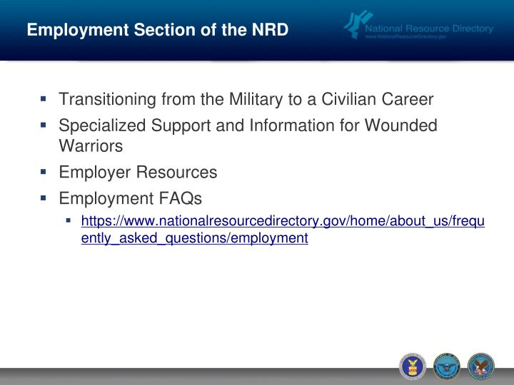 Employment Section of the NRD