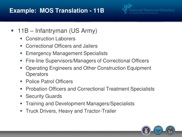 Example:  MOS Translation - 11B