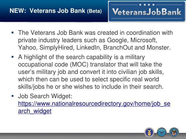 NEW:  Veterans Job Bank