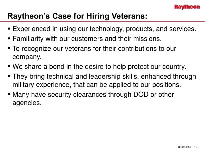 Raytheon's Case for Hiring Veterans: