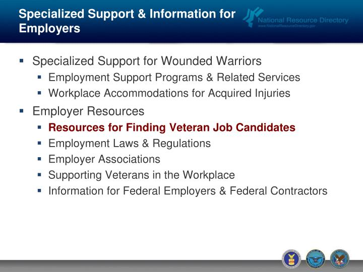 Specialized Support & Information for Employers