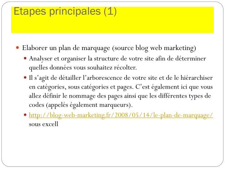 Etapes principales (1)