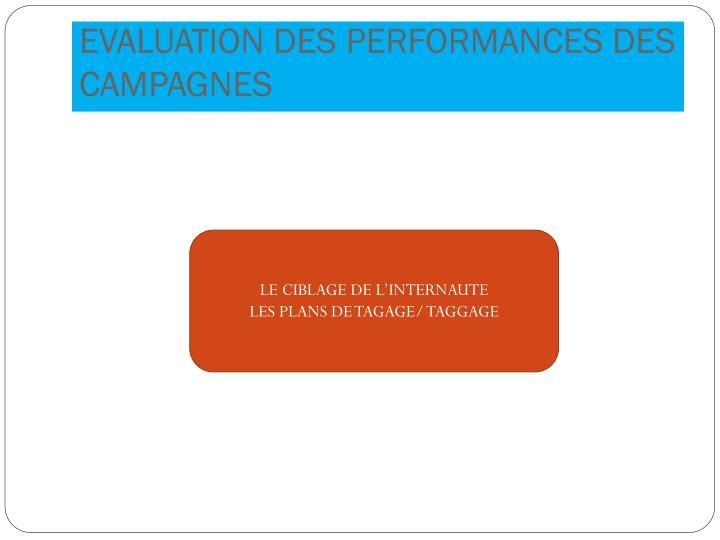 EVALUATION DES PERFORMANCES DES CAMPAGNES