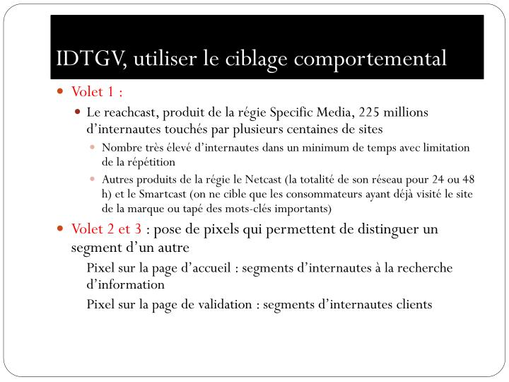 IDTGV, utiliser le ciblage comportemental