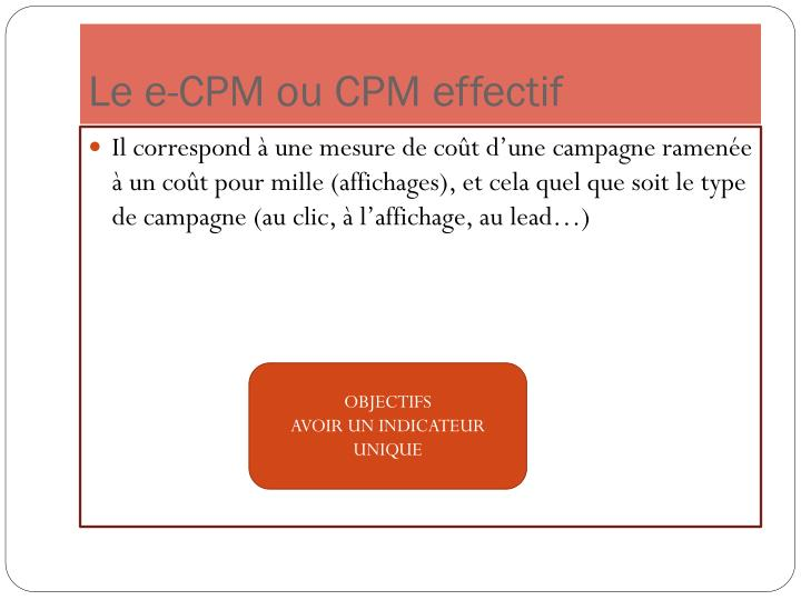 Le e-CPM ou CPM effectif
