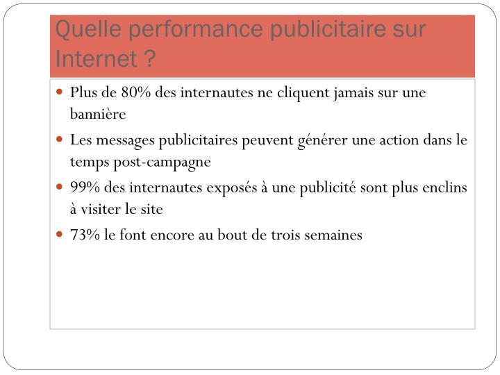 Quelle performance publicitaire sur Internet ?