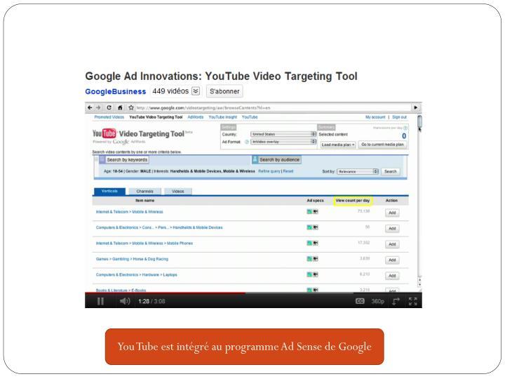 You Tube est intégré au programme Ad