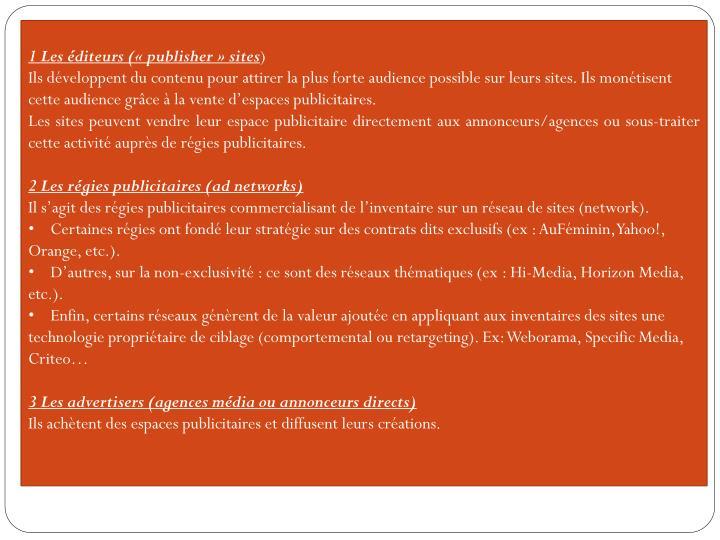 1 Les éditeurs (« publisher » sites