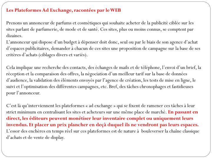 Les Plateformes Ad Exchange, racontées par le WEB