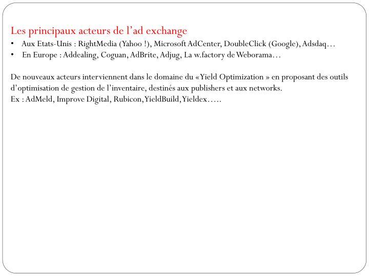 Les principaux acteurs de l'ad exchange