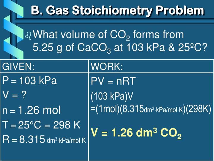 B. Gas Stoichiometry Problem