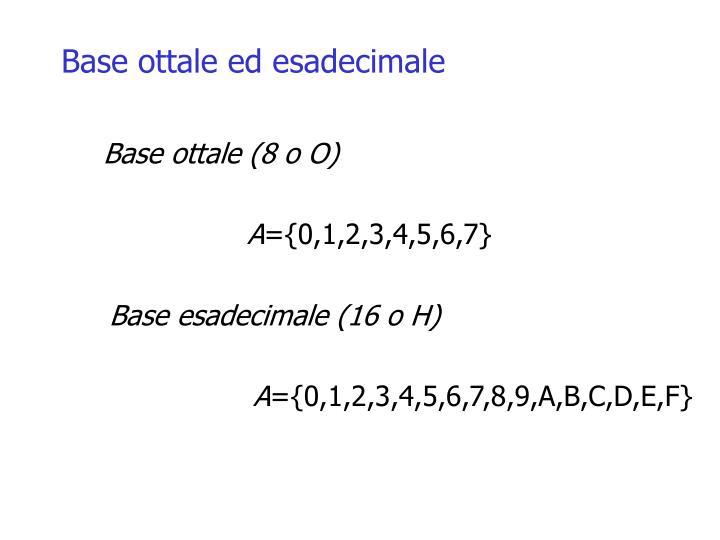 Base ottale ed esadecimale