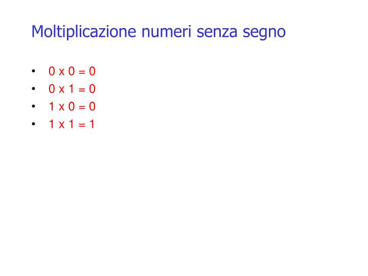 Moltiplicazione numeri senza segno