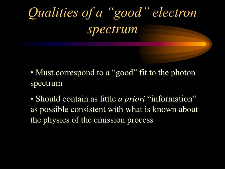 """Qualities of a """"good"""" electron spectrum"""