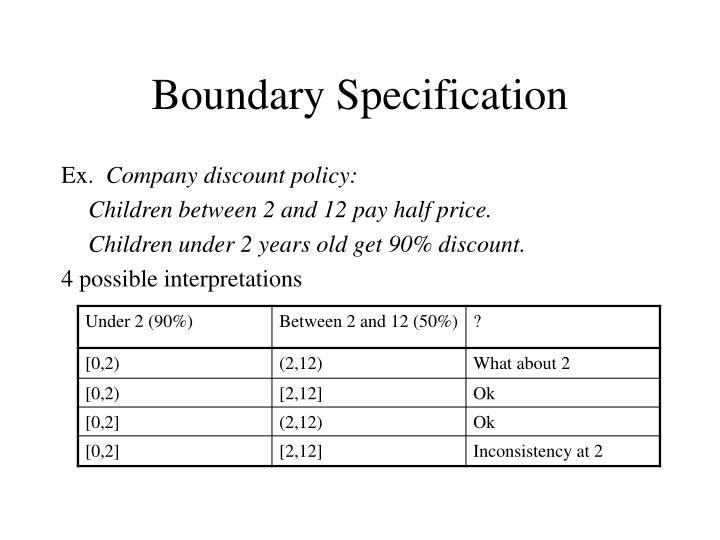 Boundary specification