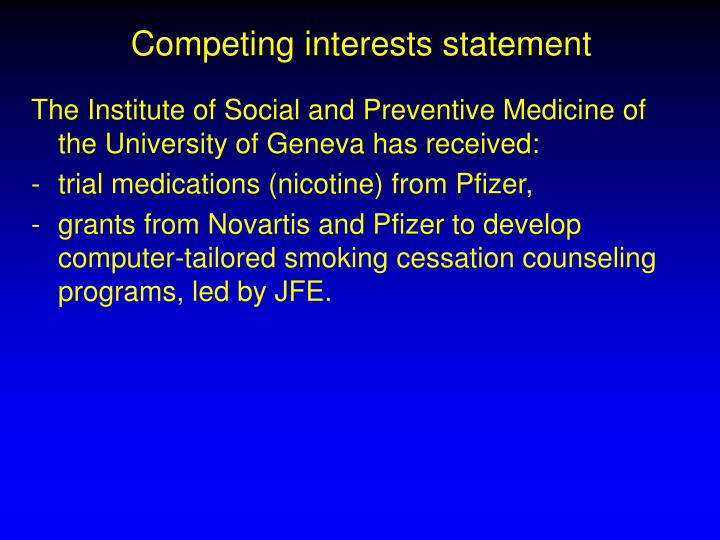 Competing interests statement