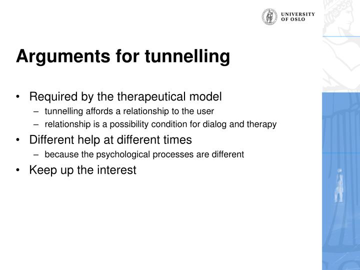 Arguments for tunnelling